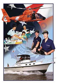 Picture of a Coast Guard Helicopter and Auxiliary members doing Public affairs and boat crew