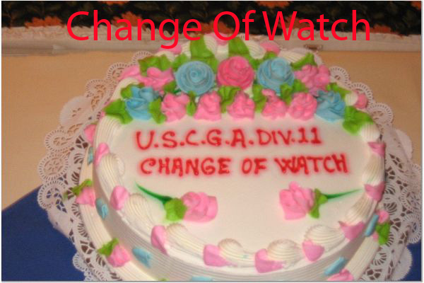 A Photo of round cake that says change of watch on it.