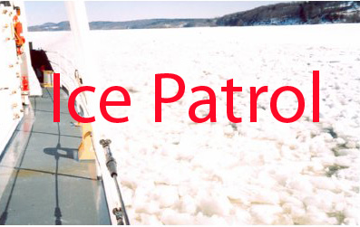 A Photo of USCG Cutter in Icy water.