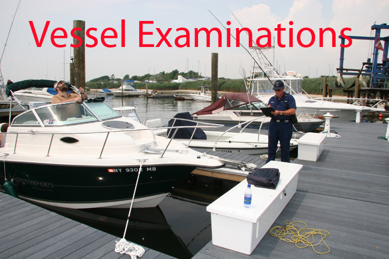 A Photo of a Auxiliary member performing a vessel examination.